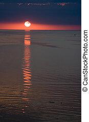 coucher soleil, coloré, petoskey