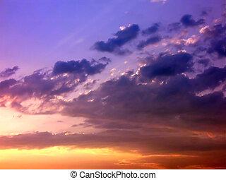 coucher soleil, coloré