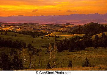coucher soleil, colorado