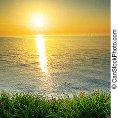 coucher soleil, composition
