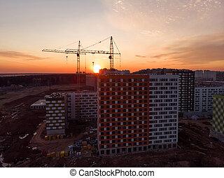 coucher soleil, construction, coup, site, au-dessus