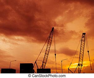 coucher soleil, construction, silhouette, site, temps