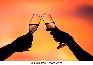coucher soleil, couple, champagne, silhouette, boire