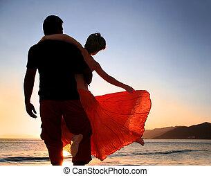 coucher soleil, couple