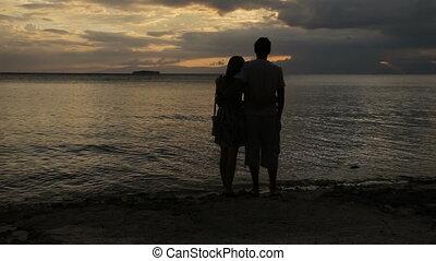 coucher soleil, couple, plage, silhouette