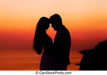 coucher soleil, couple, silhouette, aimer
