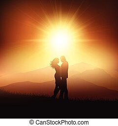 coucher soleil, couple, silhouette, paysage