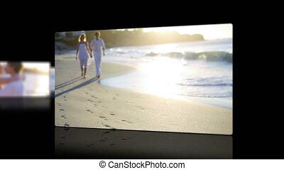 coucher soleil, couple, vidéos