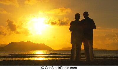 coucher soleil couples, boire, personnes agées, vin