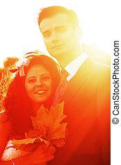 coucher soleil couples, jeune, clair