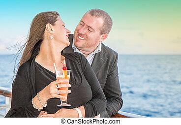 coucher soleil couples, jeune, croisière