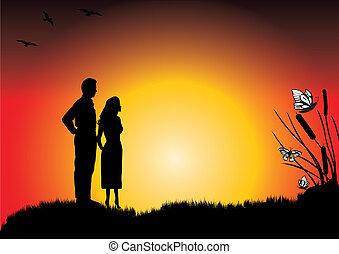 coucher soleil couples, jeune