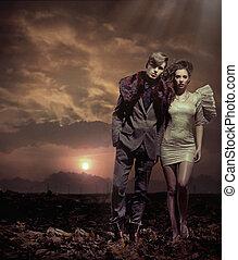 coucher soleil couples, sur, fond, jeune