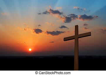 coucher soleil, croix