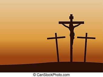 coucher soleil, crucifixion, temps, histoire, important, calvaire, happen, christianisme