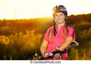coucher soleil, cyclisme femme, fond