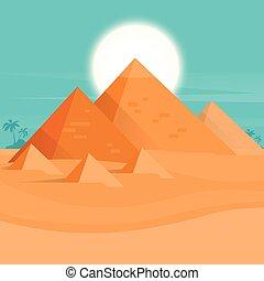 coucher soleil, désert, vue, pyramides, egypte