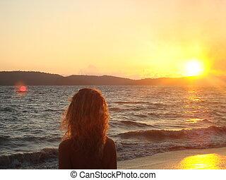 coucher soleil, dévisager