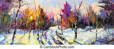 coucher soleil, dans, hiver, bois
