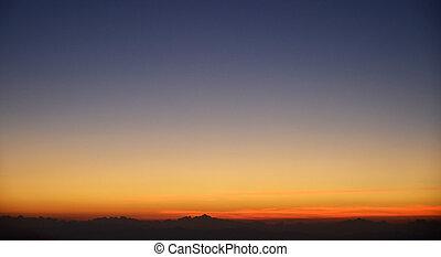 coucher soleil, dans, les, nature