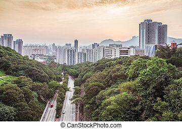 coucher soleil, dans, secteur résidentiel, de, hong kong