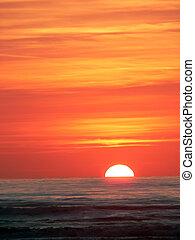 coucher soleil, dans, viareggio, toscane