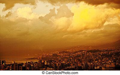 coucher soleil, dans ville