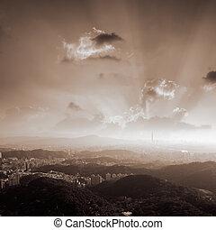 coucher soleil, de, ville, paysage