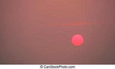 coucher soleil, defocus, fond, boucle, barbouillage, rouges...