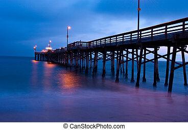 coucher soleil, depuis, balboa, jetée, plage newport,...