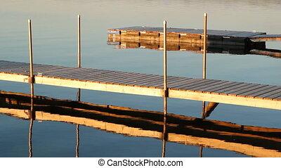 coucher soleil, docks.