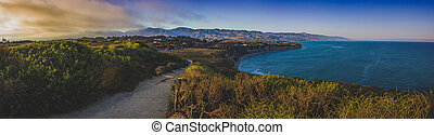 coucher soleil, dume, point, panorama