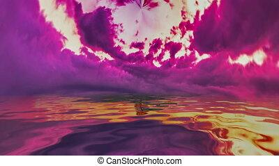 coucher soleil, eau, refléter, dramatique
