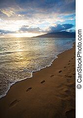 coucher soleil, encombrements, kihei, plage