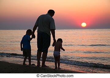 coucher soleil, enfants, mer, grand-père