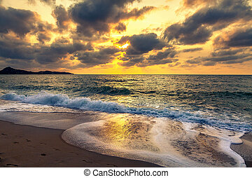 coucher soleil, et, mer