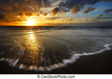 coucher soleil, et, vagues