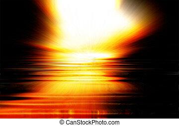 coucher soleil, explosion