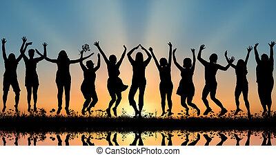 coucher soleil, femmes, silhouettes, heureux