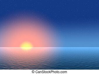 coucher soleil, fond