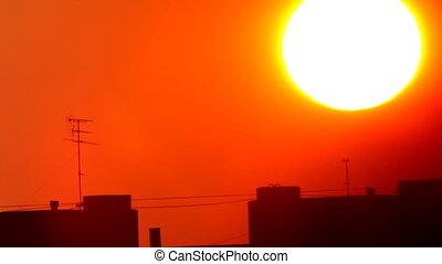 coucher soleil, fond, ville