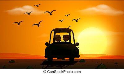 coucher soleil, gens, conduite, scène, silhouette
