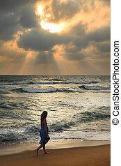 coucher soleil, girl, plage