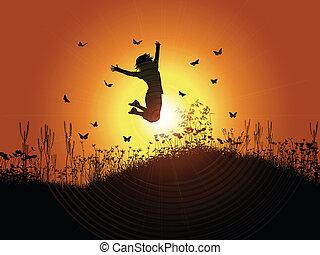 coucher soleil, girl, sauter, ciel, contre