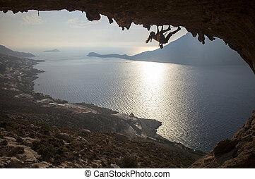 coucher soleil, grimpeur, famille, rocher