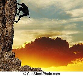 coucher soleil, grimpeur, fond, rocher