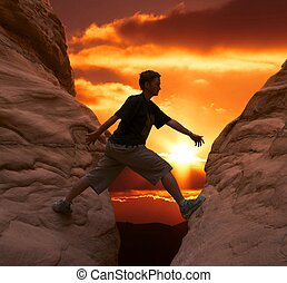 coucher soleil, grimpeur