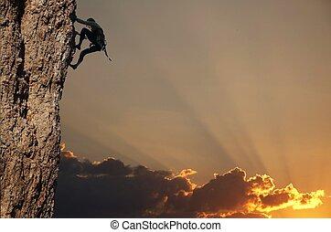 coucher soleil, grimpeur, rocher