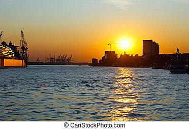 coucher soleil, hambourg, allemagne, port