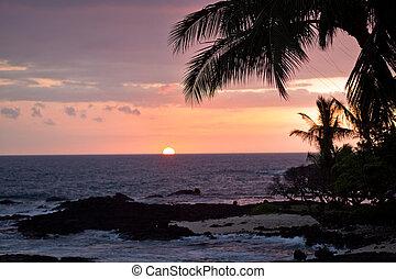 coucher soleil, hawaï, côtier, vue